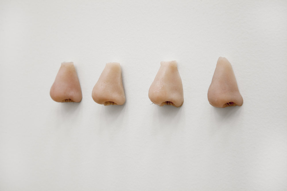 A Nose That Nose , 2016, Pigmented Silicone, human hair, 2 x 14 x 1.5 in