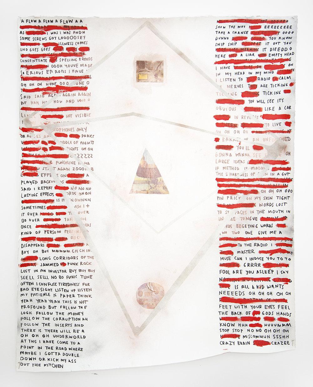 Brain Rubbish , 2018, mixed media on watercolor paper, 56 x 44 in