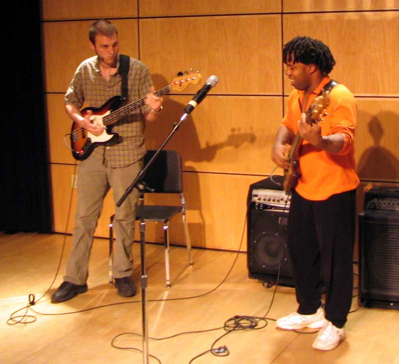 Brian Quinn jamming with  Victor Wooten  at  Berklee College of Music