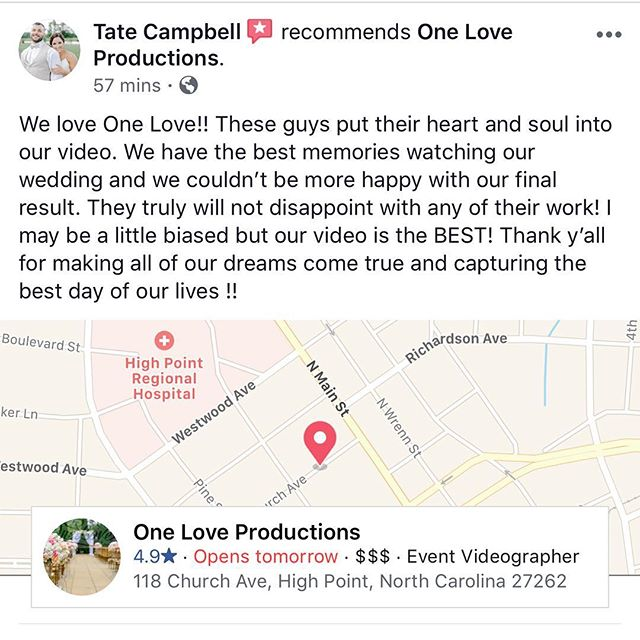 Thank you @tatecampbell11 for the awesome review!!! We enjoyed being able to do what we love on your special day! . . . . . #ncwedding #weddingvideography #ncweddingvideography #weddingvideographer #charlotteweddingvideographer #wedding #weddingfilm #weddingvideo #ncweddingvideo #ncweddings #weddingideas #charlotteweddingvideography #charlottewedding #boonewedding #ashevilleweddingphotographer #southernbride #ashevillewedding #ncweddingphotographer #charlotteweddings #charlotteweddingplanner #charlotteweddingvideo #carolinabride #northcarolinaweddings #weddingphotography #booneweddingplanner #ashevilleweddingplanner #carolinawedding #carolinabrides #charlottevideographer #booneweddingphotographer