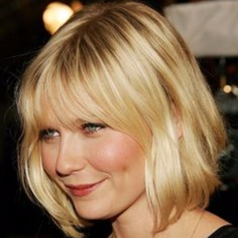 "Bob with Bangs - There are endless types of bobs, however, and it is important to understand which one you are seeking. Inverted bobs will leave the locks in front drastically longer than the back while a ""lob"" is a cut that leaves your hair at around shoulder length. To get the trendiest bob style, ask your stylist for precise, blunt lines and includes a heavy, equally blunt fringe."