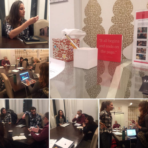 """Another playwrights meeting with Athena Theatre at  DGFund . Caught checking out my nails and also playing """"Mind Meld"""" with founder, Veronique Ory. Special shout out to our guest dramaturg for the week,  Padraic Lillis ."""