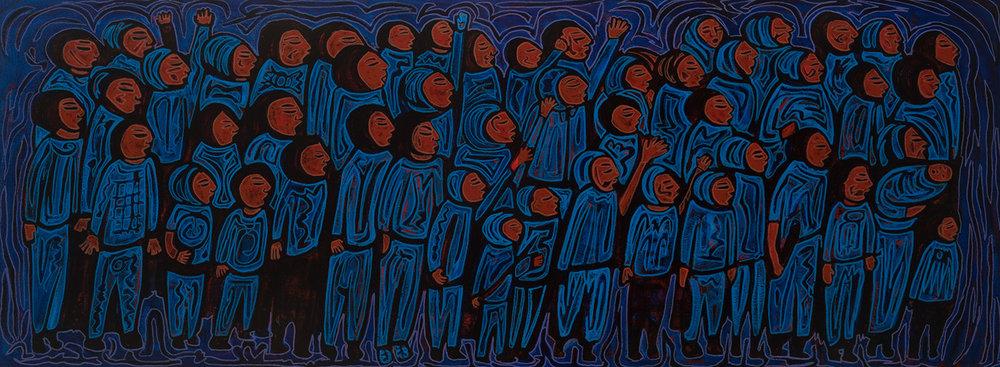 blue marcha, 2017, 48x18