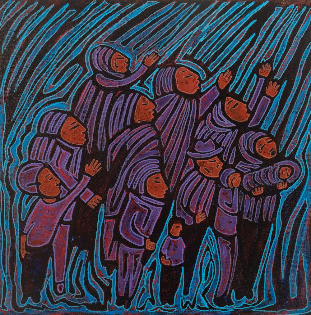 blue struggle, 2017, 18x18
