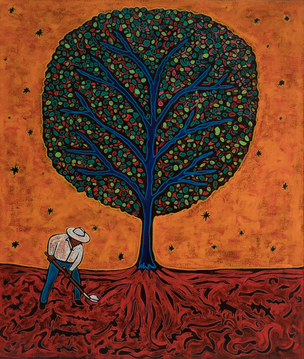 campesino spreading star dust on tree, 2017, 24x28