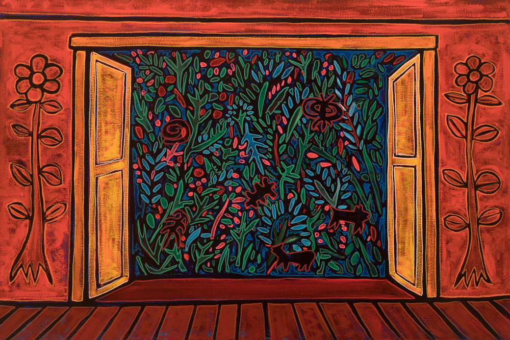 view to garden, 2017, 30x20