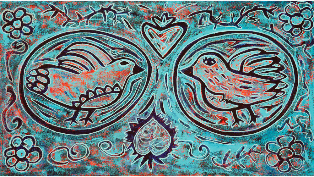 blue birds, 2013, 17x12