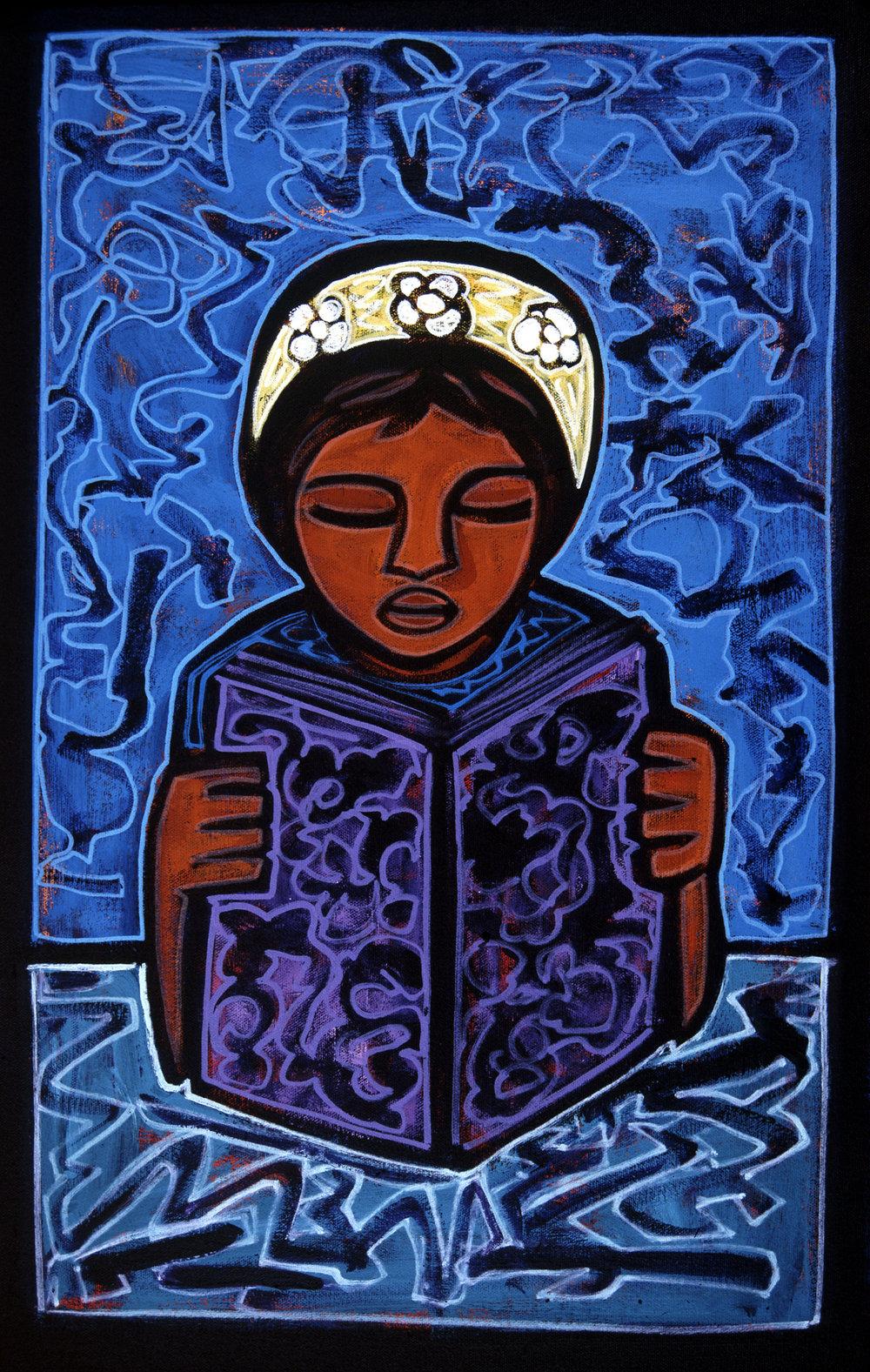 girl reading, 2003, 17x12