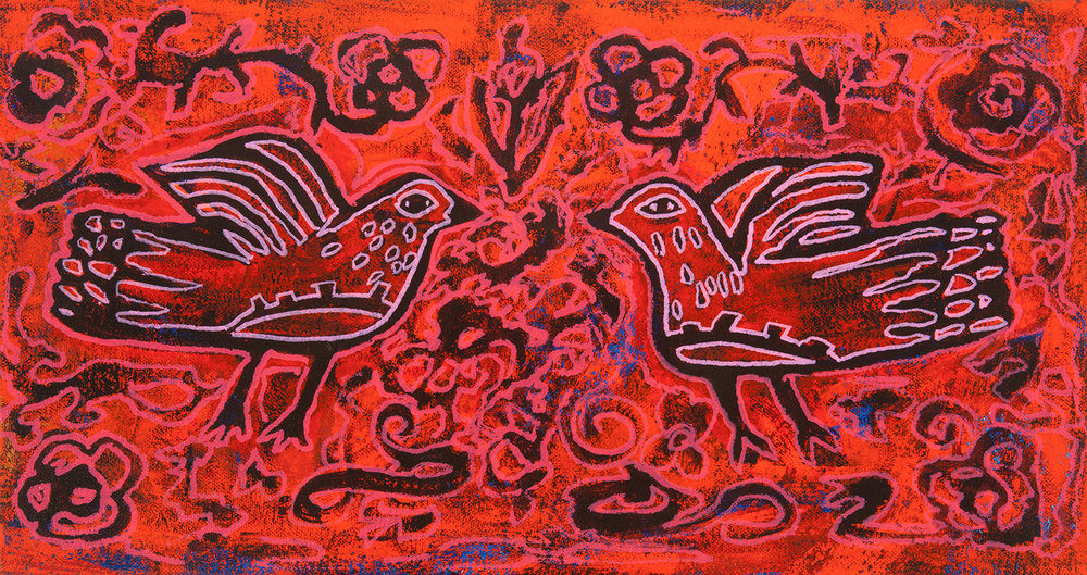 red birds, 2014, 17x12