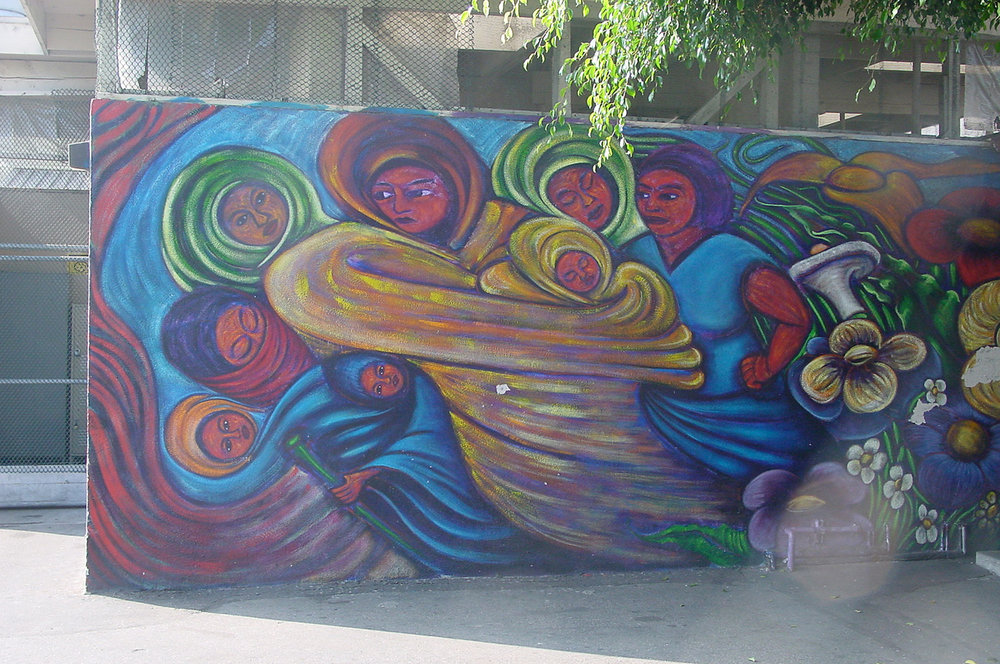 Mujeres en Movimiento, Dolores Mission Church, East Los Angeles, California, 1997.  Painted with my brother Omar.