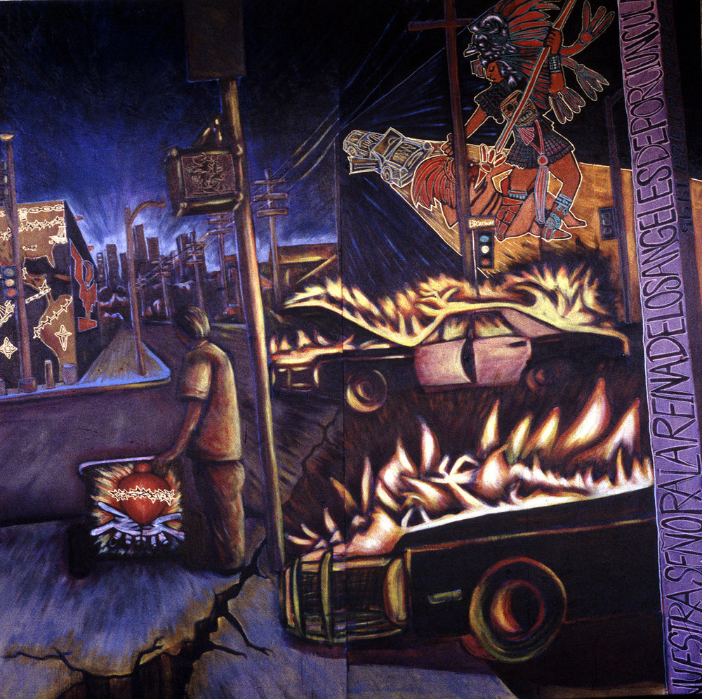 Riot in Lincoln Heights, Plaza de la Raza, Los Angeles, California,  1995.  Painted with my brother Omar.