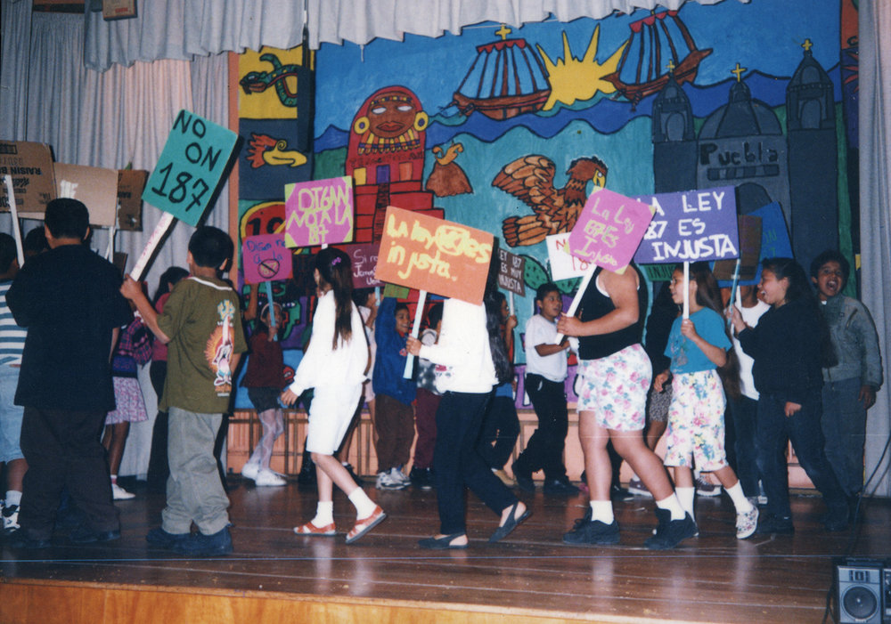 Our Cinco de Mayo Celebration/Protest at Ascot Avenue Elementary, 1994.  Mural painted with my fourth grade students.