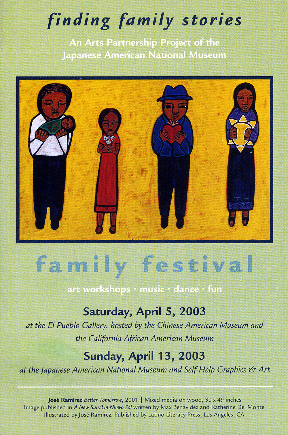 Card for finding family stories, JANM, 2003.