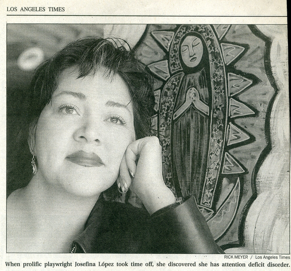Josefina Lopez in front of one of my paintings, LA Times.