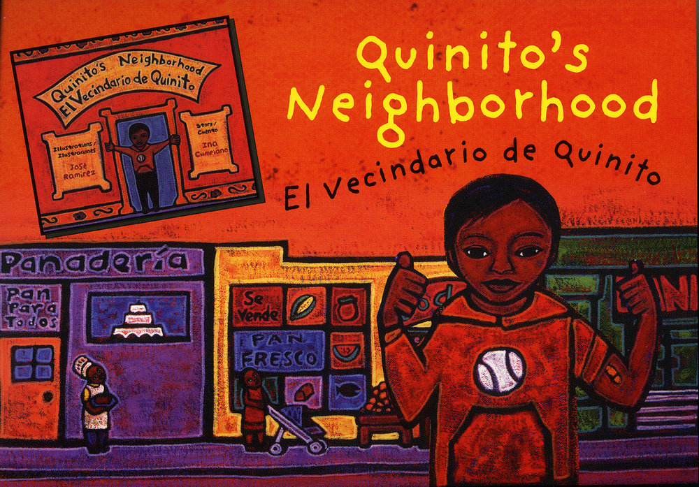Promo card for Quinito's Neighborhood, Children's Book Press, 2005.