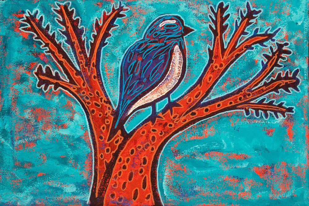 blue bird, 2015, 12x8