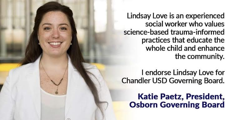 Lindsay Love endorsed by President of Osborn Governing Board, Katie Paetz