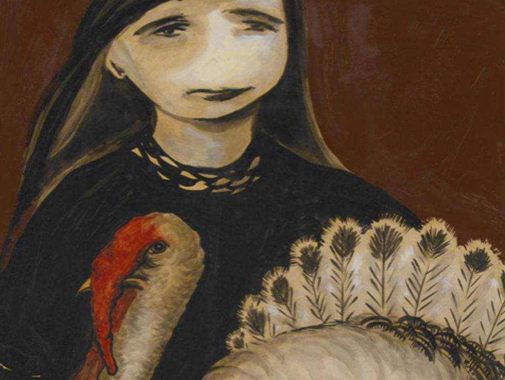 Detail from  Girl holding turkey (Vera) © 1957 Joy Hester