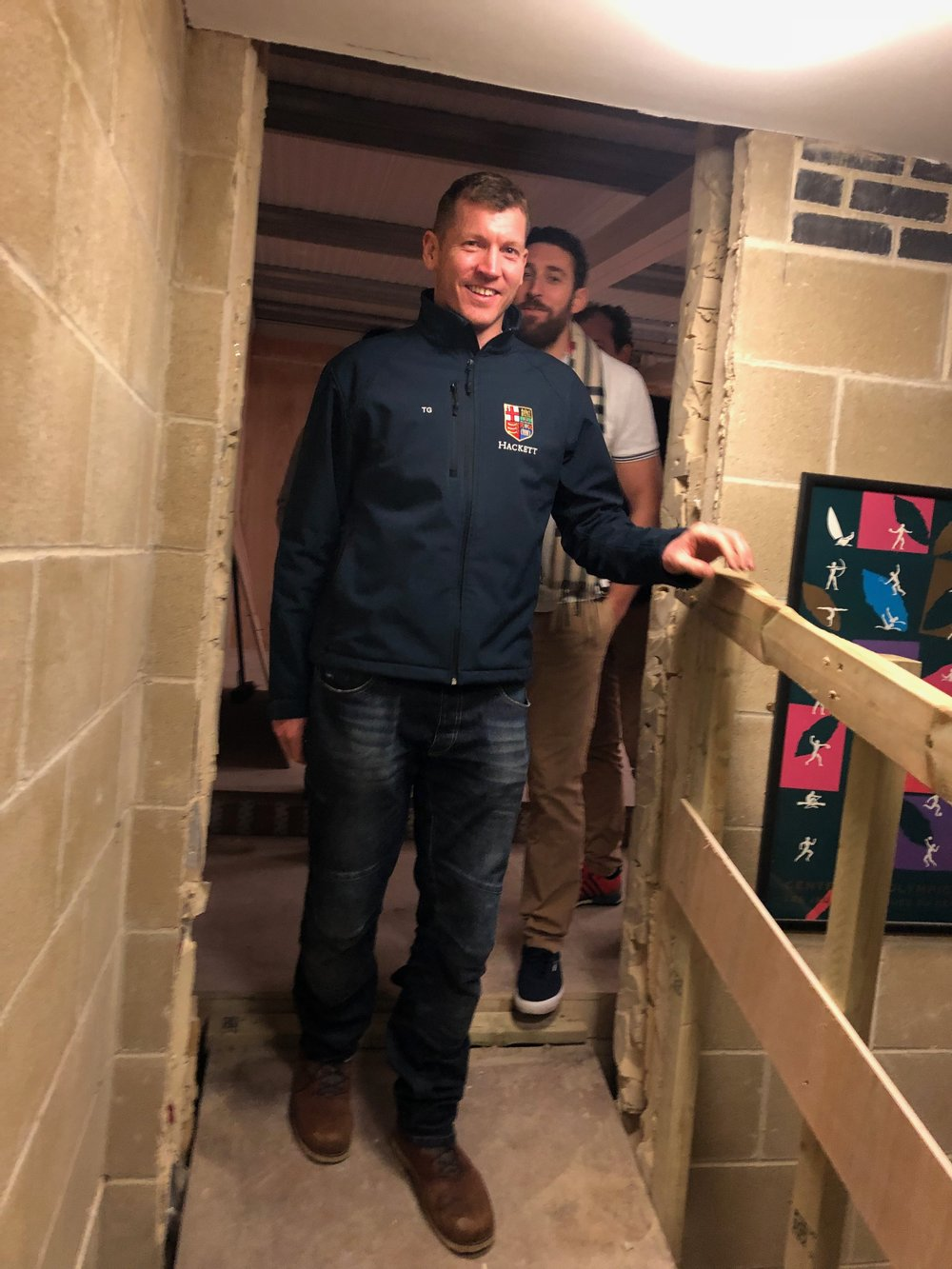 Our Honorary House Steward (Building) Josh McInerney (rear) urging the Captain, Tim Grant to test the temporary footbridge…