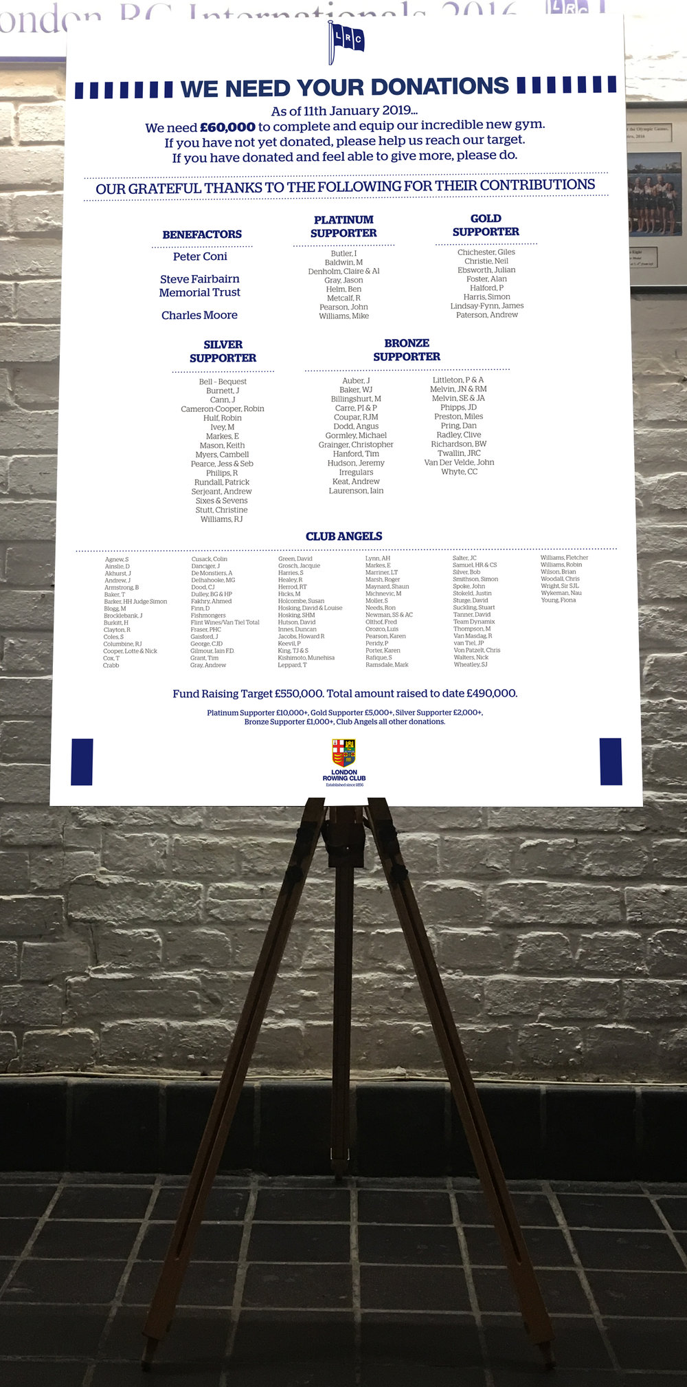 The contributors list on display on the evening of the LRC Annual Dinner