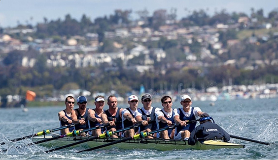 Masters Club Championships crew, left to right: Stewart Harries, Duncan McLellan, Ralph Humphrey, Shaun Martin, Henry Hering, Adrian Theed, Marc Schneider, Peter Jacobs and Anna Liberovsky.