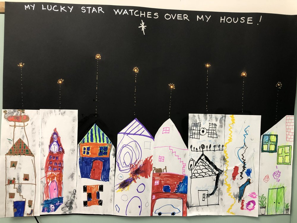 CHILDREN DREW THEIR HOUSES THEN PLACED LEDS TO LIGHT UP THEIR LUCKY STARS