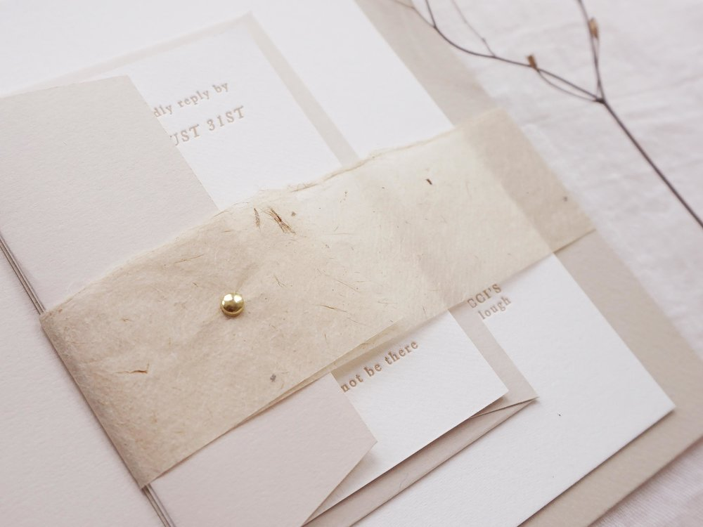 gold-brad-tissue-handmade-organic-natural-letterpress-invitations