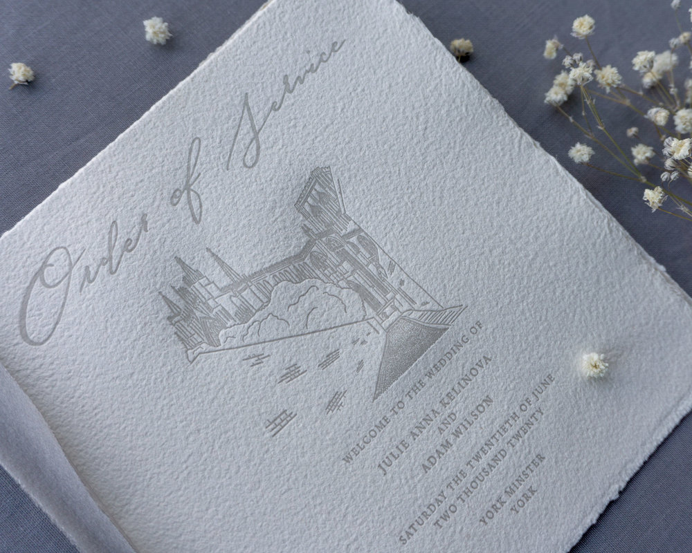 letterpress order of service york minster illustration bespoke venue church.jpg