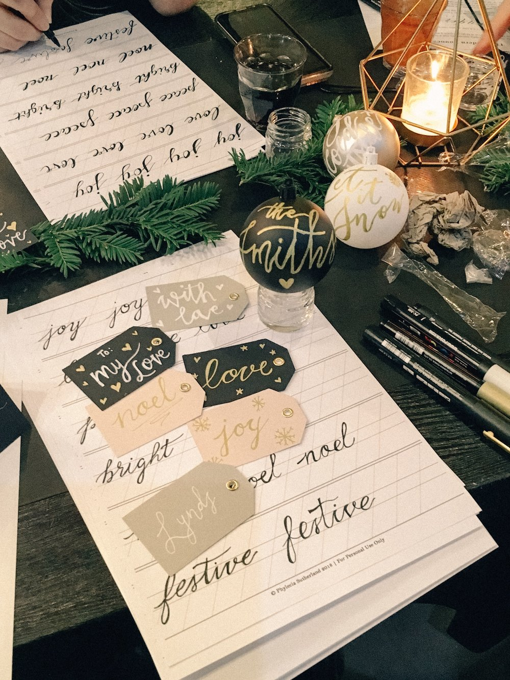 Hand lettering Christmas gift tags