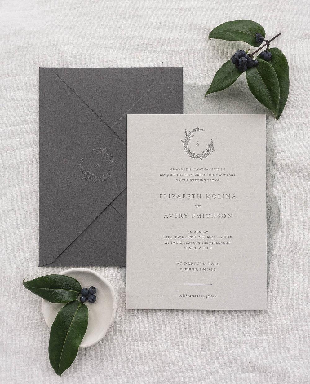 emboss seal monogram wreath letterpress deboss invitation typography simple modern classic