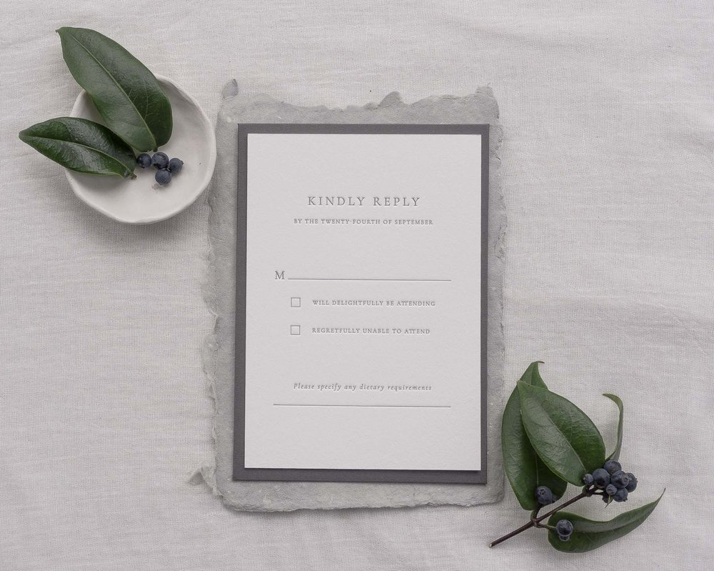letterpress rsvp kindly reply card simple modern typography classic traditional