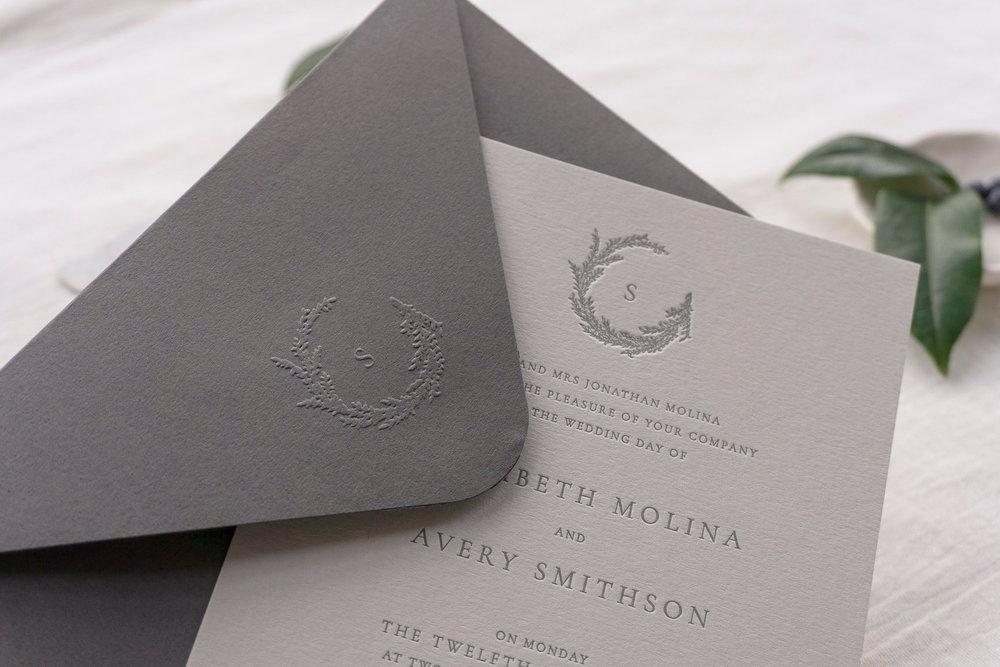 emboss+seal+monogram+envelope+wreath+letterpress+wedding+invitation+uk