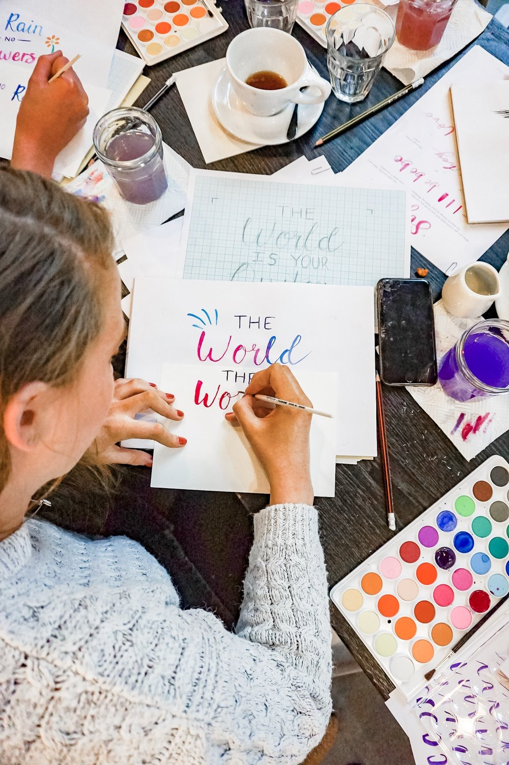 watercolour brush lettering workshop make your own quote