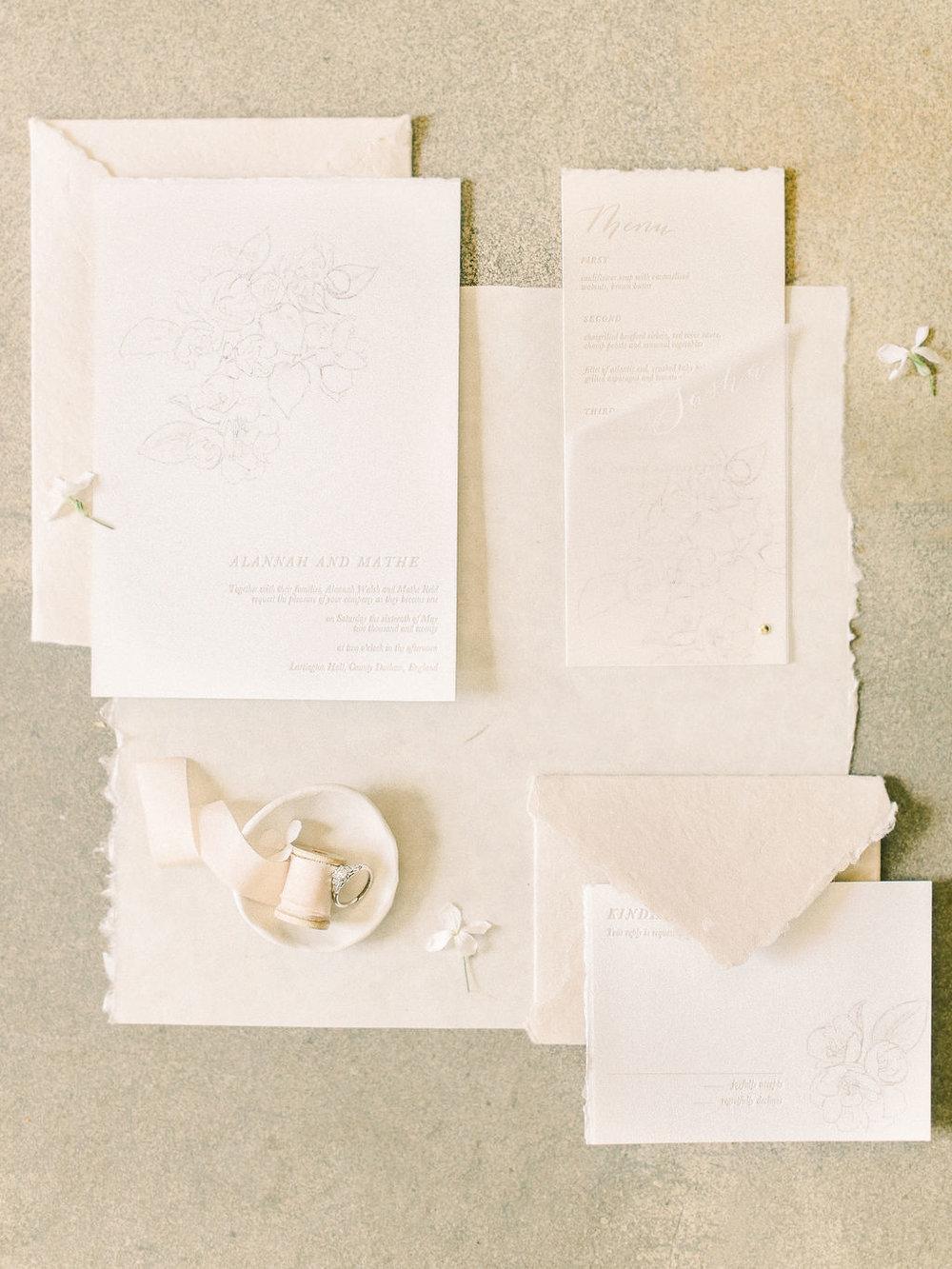 letterpress charcoal botanical illustration vellum wrap handmade paper