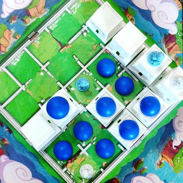This is how you outplay in #Santorini! 😆 I used #Selene to completely block both of @markh110's builders, and made some beautiful domes at the same time. This is a clever abstract #game that's totally elevated by the aesthetic. The #chibi style characters are playful, and add whole new strategies - just make sure not to play with broken combos! . . . .  @spinmaster #roxleygames #roxley #roxleygamelaboratory #kickstarter #abstractgames #boardgames #boardgame #boardgaming #boardgamenight #gamenight #boardgamegeek #analoggames #tabletop #tabletopgames #tabletopgaming #bgg #brettspiel