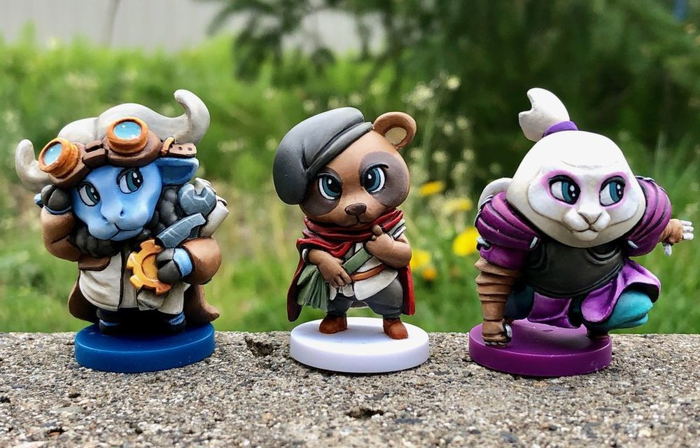 Sample of the adorable animal sibling minis, painted by Toad Painting