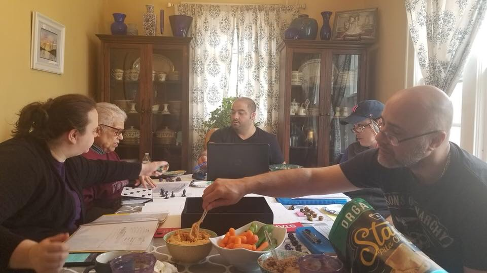 The DnD Grandma (back left) playing with her family