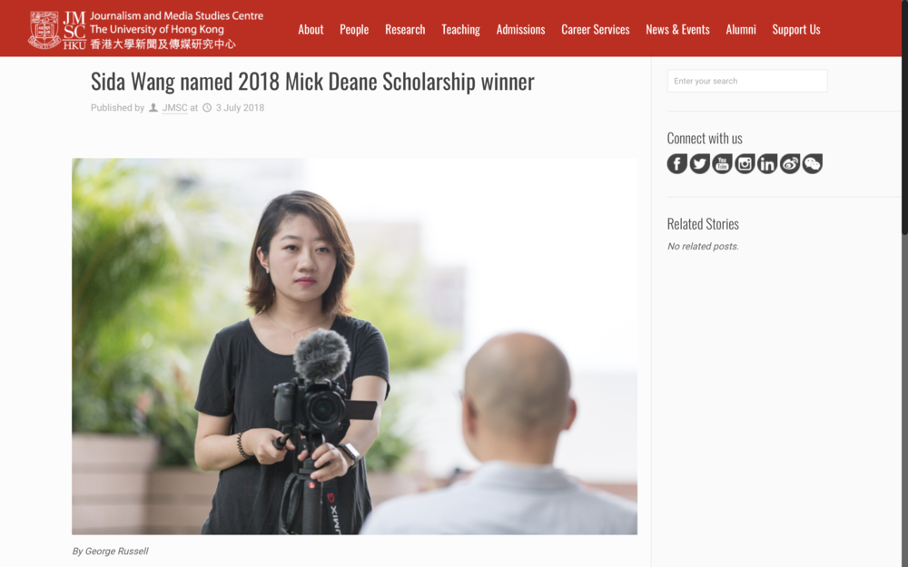 Sida Wang named 2018 Mick Deane Scholarship for Video Journalism - Read More: https://jmsc.hku.hk/2018/07/sida-wang-named-2018-mick-deane-scholarship-winner/