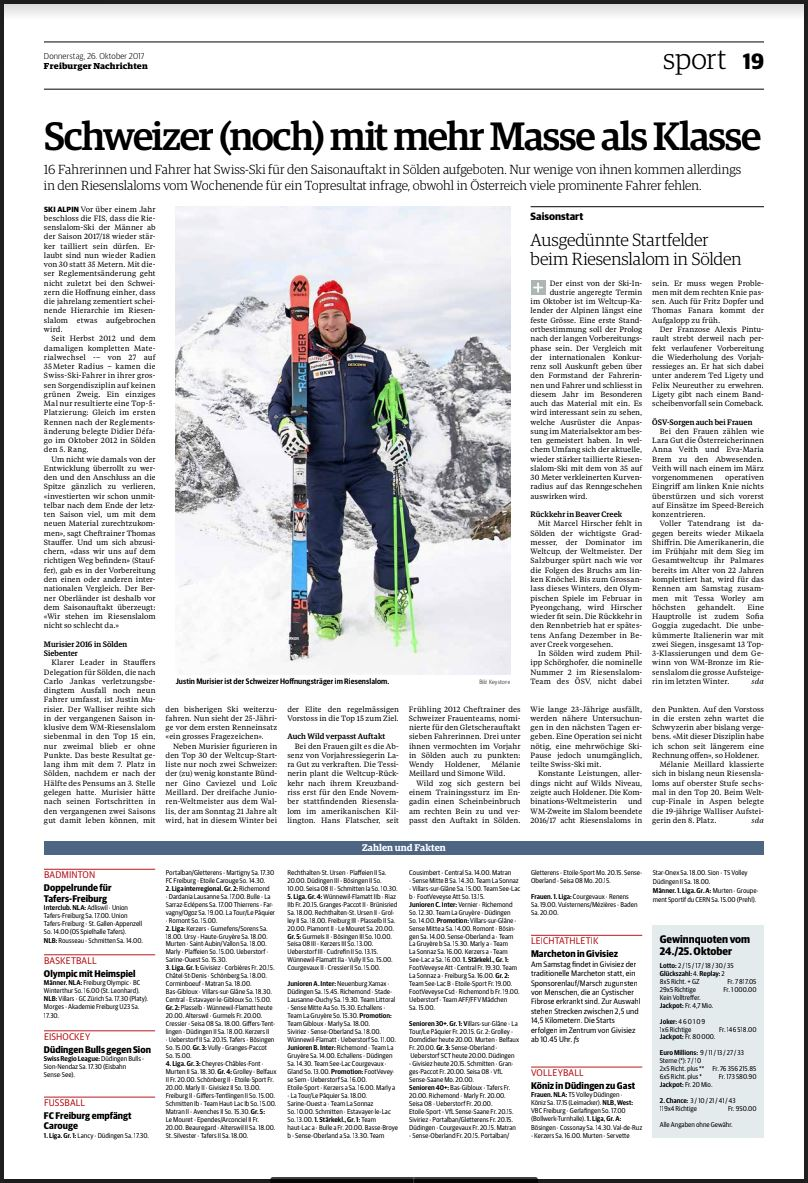 Freiburger Nachrichten - jeudi 26 octobre, 2017