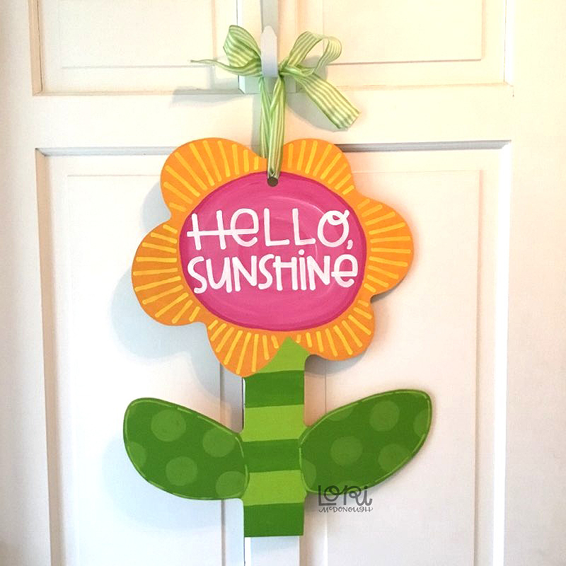 Hello Sunshine Flower Door Hanger