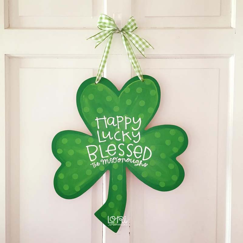Personalized Shamrock Door Hanger