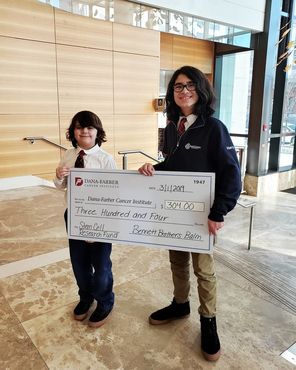 Our first donation to the Dana-Farber Stem Cell Transplant Program.