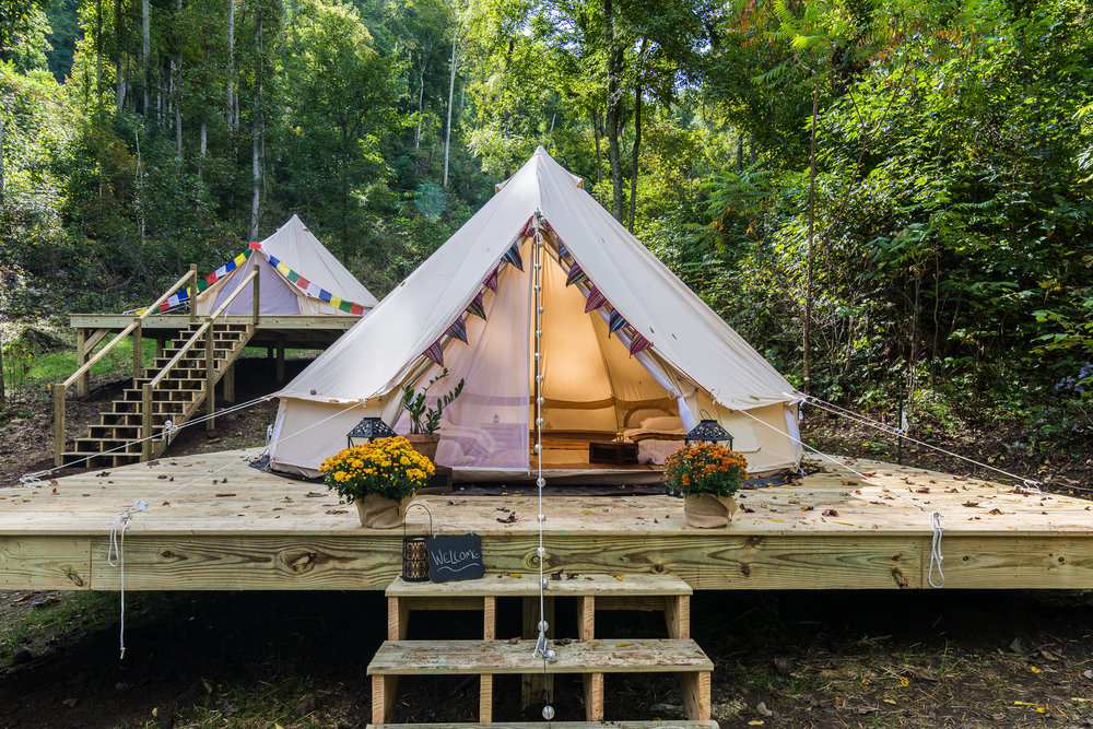 Outdoor photo of the Bell Tents at Bliss Farm and Retreat