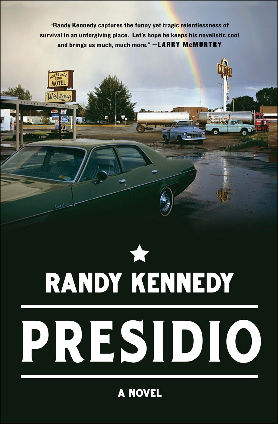 Presidio - Set in the 1970s in the vast and arid landscape of the Texas panhandle, this darkly comic and stunningly mature literary debut tells the story of a car thief and his brother who set out to recover some stolen money and inadvertently kidnap a Mennonite girl who has her own reasons for being on the run. Troy Falconer returns home after years of working as a solitary car thief to help his younger brother, Harlan, search for his wife, who has run away with the little money he had. When they steal a station wagon for the journey, the brothers accidentally kidnap Martha Zacharias, a Mennonite girl asleep in the back of the car. Martha turns out to be a stubborn survivor who refuses to be sent home, so together these unlikely road companions attempt to escape across the Mexican border, pursued by the police and Martha's vengeful father. The story is told partly through Troy's journal, in which he chronicles his encounters with con artists, down-and-outers, and roadside philosophers, people looking for fast money, human connection, or a home long since vanished. The journal details a breakdown that has left Troy unable to function in conventional society; he is reduced to haunting motels, stealing from men roughly his size, living with their possessions in order to have none of his own and all but disappearing into their identities. With a page-turning plot about a kidnapped child, gorgeously written scenes that probe the soul of the American West, and an austere landscape as real as any character, Presidio packs a powerful punch of anomie, dark humor, pathos, and suspense.