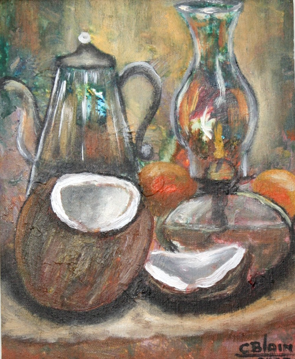 "cOCONUTS - ""A beautiful display of fruits and vegetables in a colorful arrangement. Painting is mounted on stretched canvas. This painting is authentic and fully guaranteed """