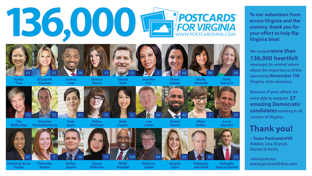 "136,000 hand-written postcards supporting 27 Democratic candidates were mailed to voters across Virginia in an effort to ""Flip Virginia Blue."""