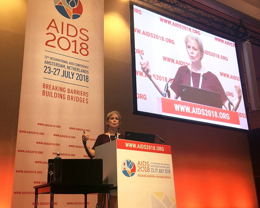 Ethics Lab Director Maggie Little speaks at the 22nd International AIDS Conference.