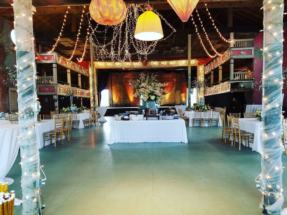 Dreamland Ballroom in Taborian Hall decorated for a wedding event.