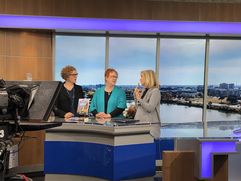 Authors Lara Zuehlke (left) and Jan Zuehlke (center) being interviewed by Central Texas News - ABC 25.