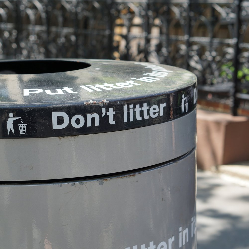 "A DSNY ""silver bullet"" litter basket.  Photo by DSNY."